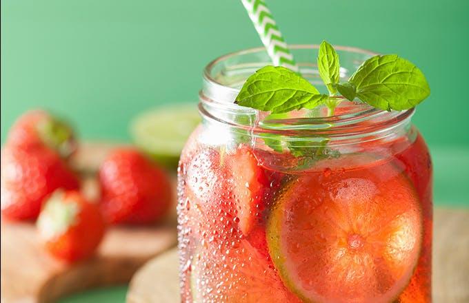 Strawberry Basil Fizz